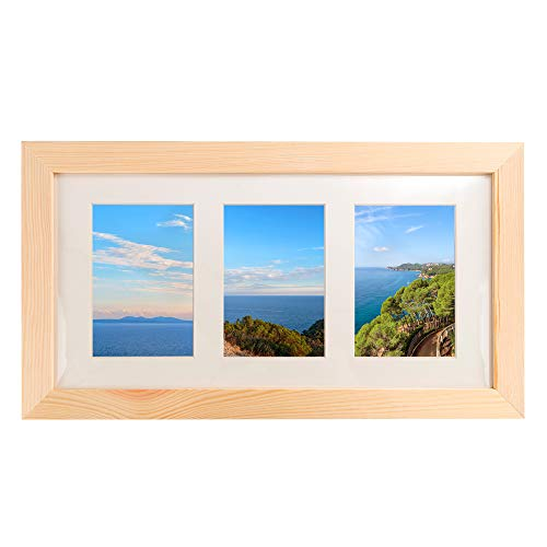 Natural Wood Collage Photo Frame 8x16 inch - Made to Display Three (3) 4x6 inch Pictures with Mat (Collage Wooden Photo Frames)