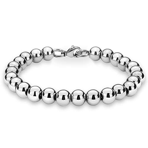 Jewelry Kingdom 1 Bracelets for Women and Men, Bead Chain Sterling Silver Stainless Steel, Handmade Jewelry, 6-8MM Diameter and 7-40