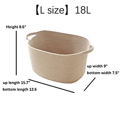 RAIN QUEEN L and XL Cotton Rope Storage Basket for Baby Toys Storage,Clothes Organizer,Laundry,One Set 2PCS