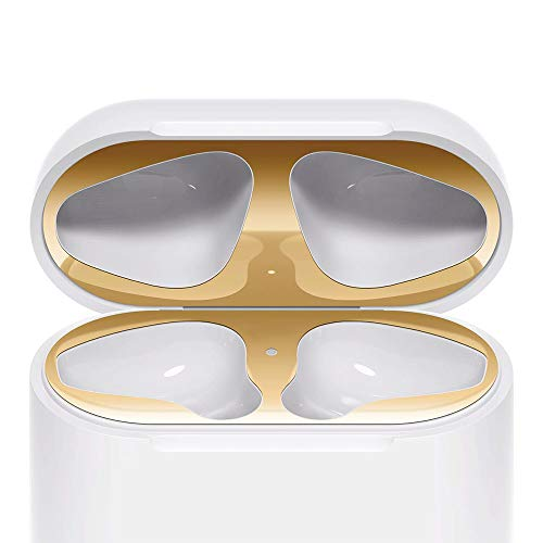 Lastma AirPods Dust Guard [2 Set] AirPod Dust-Proof Film [18K Gold Plating] Easy to Install for Apple Airpods Charging Case - Gold