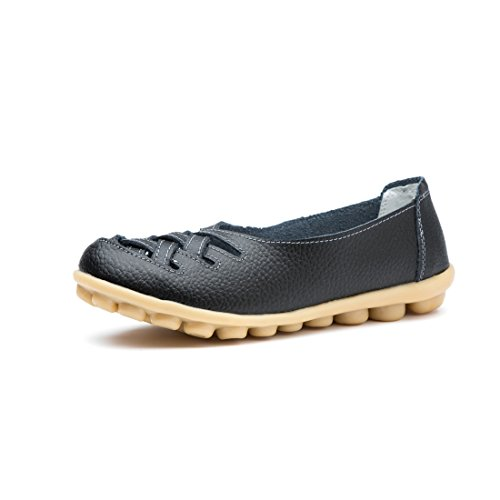 MORNISN Women's Casual Leather Loafers Hollow out Sandal Slip-on Flats Shoes