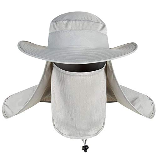 Mosquito Protective Clothing (Mens UPF 50+ Sun Protection Cap Wide Brim Fishing Hat with Neck Flap Bonnie Sun Hats)