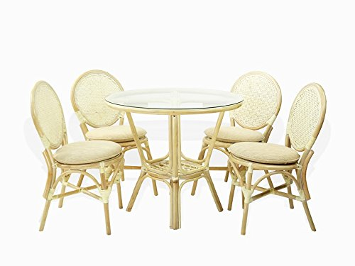 (5 Pc Rattan Wicker Dining Set Round Table Glass Top+ 4 Denver Side Chairs. White Wash )