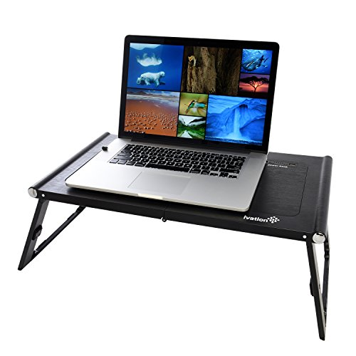 Furniture Office Furniture 360-degree Rotation Multifunctional Portable Folding Table With Fan & Mouse Black Can Be Used On Bed And Table