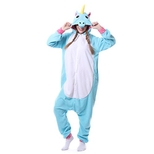 Foresightrade Adults and Children Animal Narwahl Cosplay Costume Pajamas Onesies Sleepwear (L fit for Height 168-178CM, blue unicorn)