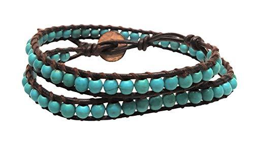 - Infinity Turquiose 2 Wrap Bracelets Choker Woven Leather Necklace 2 in 1, Men Bracelet, Women Bracelet, Teengirls Bracelet