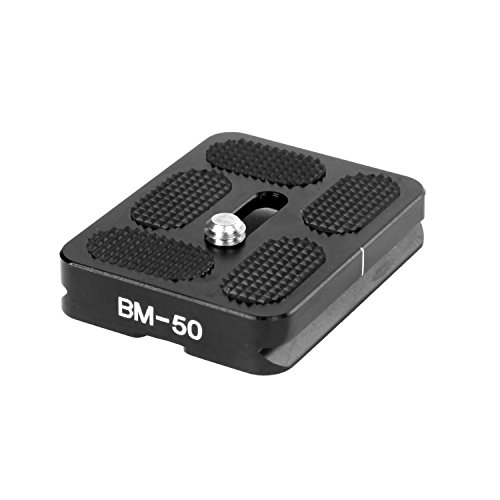 (Black Universal Quick Release Plate for Camera Tripod, Arca-Type Compatible 50mm Long Plate)