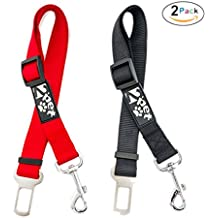 "2PET Dog Seatbelt Strap by Adjustable Dog Seat Belt for all for All Dog Breeds & Sizes – Universal Dog Seat Belts Fit Seatbelt Latches of All Car Makes – 21"" to 32"" Dog Seatbelt - 2 Pack Red-Black"