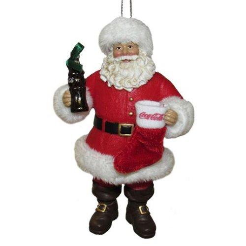 Kurt Adler Fabriche Coca-Cola Santa with Bottle and Stocking Ornament #CC9173