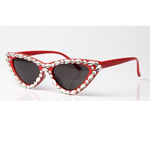 Pequeño Gafas Rojo De Diamantes Uv400 Negro Sexy Negro De De Lujo Gafas Vintage Gafas Sol Espalda Hembra Gato Rosso Ojo Gafas Mujer De TIANLIANG04 Triángulo De P57wq1f