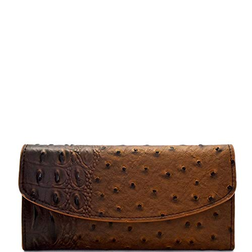Ostrich Print Embossed Soft PU Leather 15-Card-Slot Slim Trifold Wallet with Checkbook ()