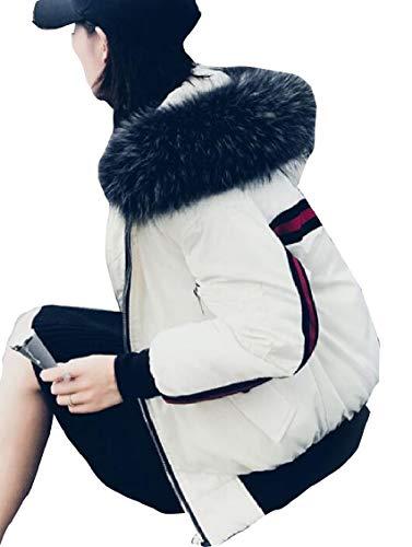Outwear Faxu White Women Gocgt Puffer Coat Jacket Fur Hoodie Hoodie CP5aZYq