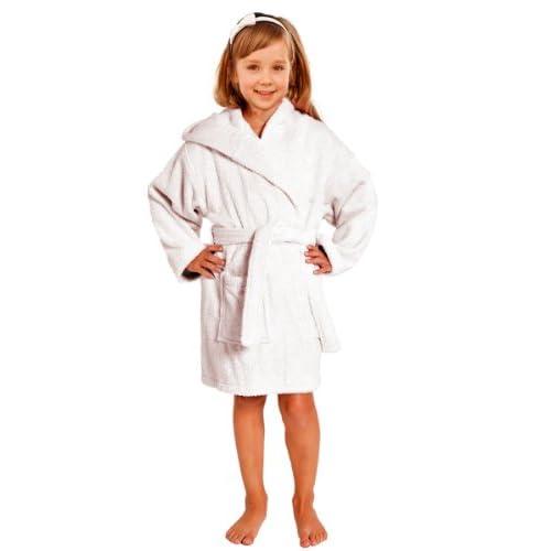 Terry Towel Bathrobe 100% Cotton White Kids Hooded Robe 606ca335a