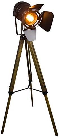 XMAGG Lámpara de Pie Proyector con Trípode de Madera Diseño Foco Cinema, Altura regulable, Estilo Vintage y Retro - Iluminacion de Lectura, Lámpara de Suelo, de Salón, Dormitorio: Amazon.es: Iluminación