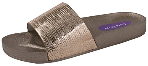 Lora Dora Womens Metallic Sliders Bronze CBxd8fR
