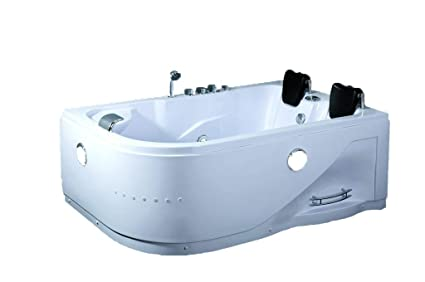 Attirant 2 Person Whirlpool Massage Hydrotherapy White Corner Bathtub Tub With  BLUETOOTH, Remote Control And Inline