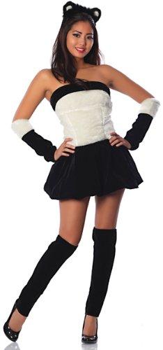 Panda Sexy Costumes (Delicious Panda Babe Costume, Black/White, X-Small)