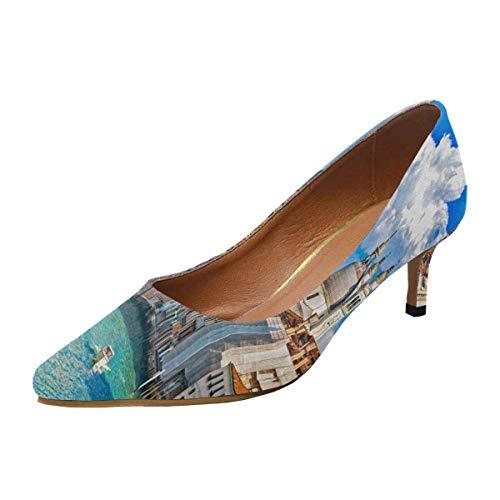 INTERESTPRINT Women's Pointed Toe Low Kitten Heel Dress Shoes Gondola in Canal Grande Basilica Di Santa Maria De US5