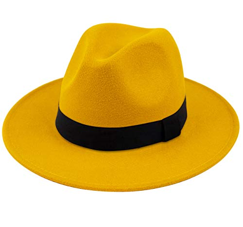 Lanzom Women Wide Brim Warm Wool Fedora Hat Retro Style Belt Panama Hat (Yellow, One Size)