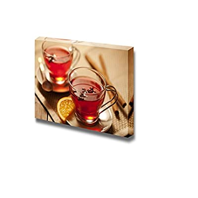 Pretty Composition, Quality Creation, Inviting Warm Spicy Drink with Ingredients in Glass Cup Wall Decor