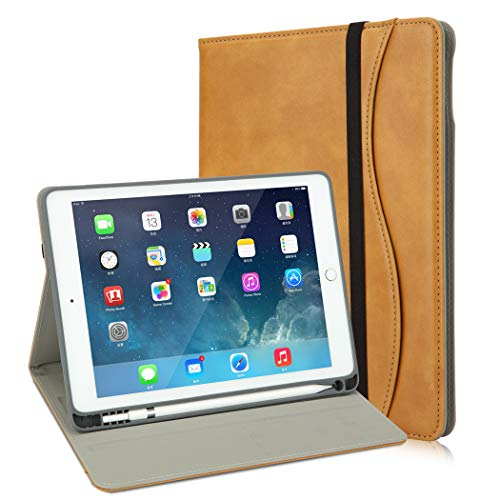 iPad 9.7 Case with Pencil Holder+6th Generation iPad Cover Case with Stand Slot+Pocket+Functional and Handle Strap for iPad 2018 (6th)+iPad 2017 (5th)+iPad Pro 9.7+iPad Air2 & 1[Camel]