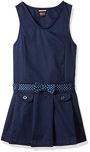 French Toast Little Girls' Polka Dot Belted Jumper, Navy, 6 School Uniform Jumper Dress