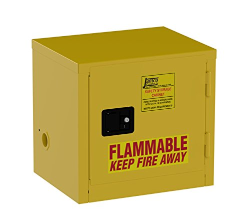 Jamco Products Inc BA06-YP  6 gallon Safety Cabinet, for Flammable liquids, Manual Close, 1 Door, 23-Inch x 18-Inch x 22-Inch (Grounding Cabinets Flammable)