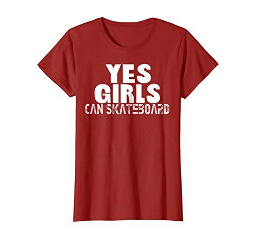 Womens Yes Girls Can Skateboard T-shirt XL Cranberry