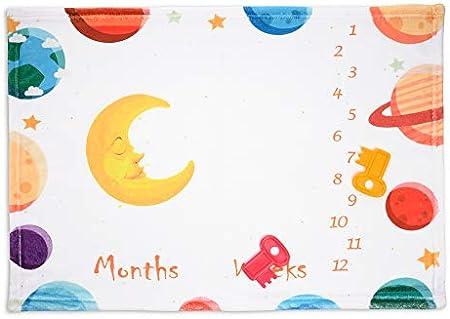 Uamita Milestone - Manta de franela suave para recién nacido, se puede utilizar como fondo para fotos de los primeros meses y las primeras semanas 50x70 Blanco