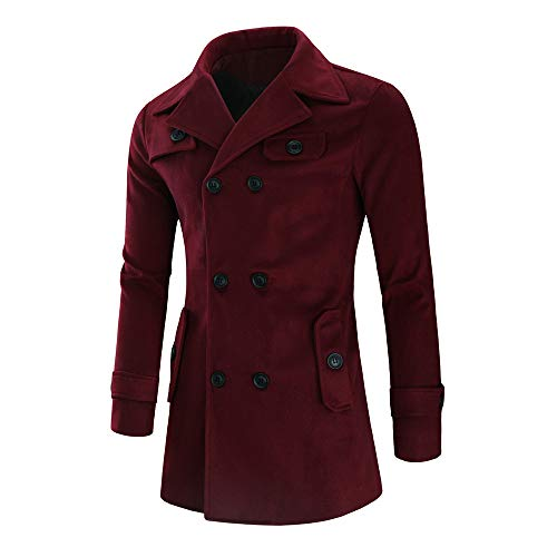 (Realdo Men's Slim Fit Jacket, Mens Business Daily Warm Trench Long Outwear Button Smart Overcoat Coats(X-Large,Wine))