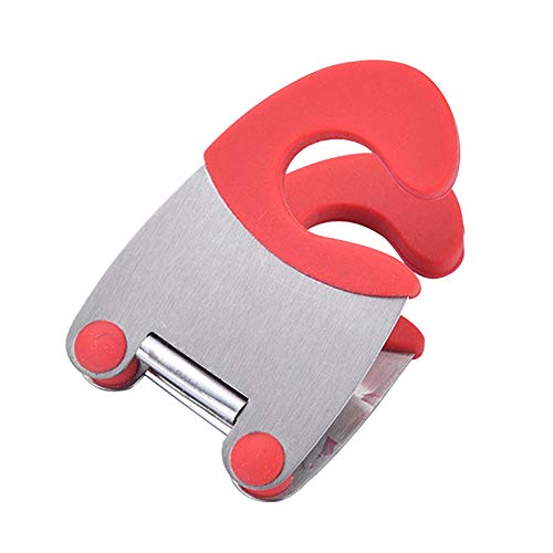 (Sikye Silicone Hand Grip Stainless Steel Pot Pan Holder Spatula Clip Spoon Rest Pots Clip Kitchen Cooking Tool,7.8x5cm (Red))