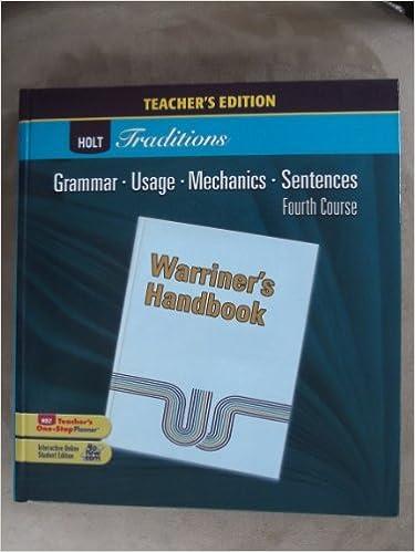 Warriners handbook grammar usage mechanics sentences 4th warriners handbook grammar usage mechanics sentences 4th course teachers edition warriner 9780030990427 amazon books fandeluxe Choice Image
