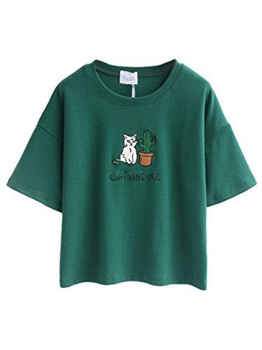 Choies Damen T-shirts mit Stickerei Rundhals Kurzarm Cat and Me Basic Cool Shirts Blouse Tops Grün ONESIZE