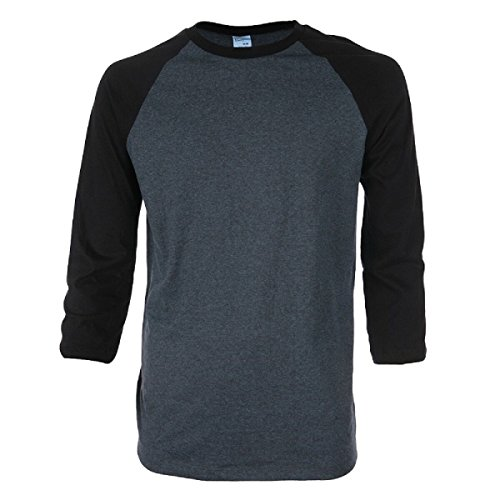 Long 3/4 Sleeve Tee (Pacific Mens Raglan 3/4 Sleeve Baseball T-Shirt (Large, Twilight/Black))
