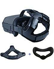 MASiKEN Silicone Face Mask Cover & Head Strap Pad Cushion for Oculus Quest Headset Accessories with PU Leather & Reduce Head Pressure (Black)