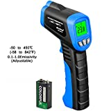 Laser Infrared Thermometer, HOLDPEAK 981B Non-Contact Laser IR Temperature Gun Instant-read with 1 9V Batteries(Included) Emissivity 0.1-1.0(Adjustable) Range -50 to 450?(-58 to 842?)