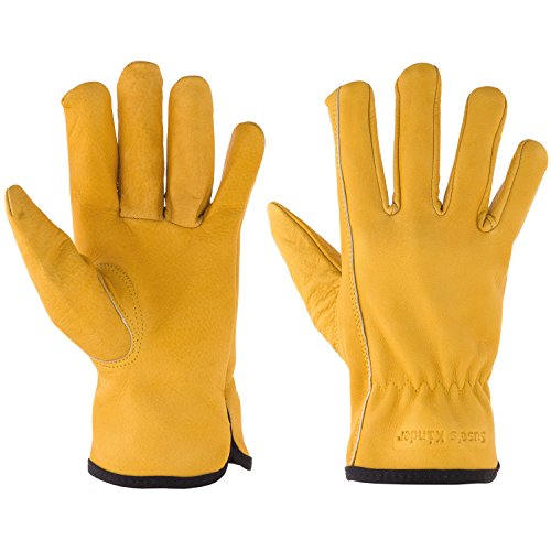 Suses Kinder Kids Leather Work Gloves ages 9-11, Yellow