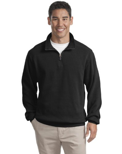 Port Authority F220 Flatback Rib 1 4 Zip Pullover   Black   Small