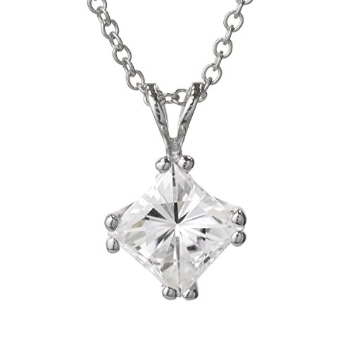 Forever Classic Square Cut 6.0mm Moissanite Pendant Necklace, 1.30ct DEW by Charles & -