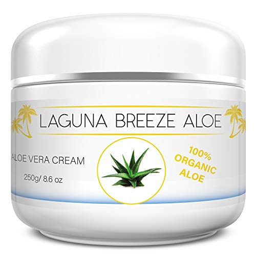 Aloe Cream by Laguna Breeze - Body and Face Lotion for Women and Men - Psoriasis Eczema Dry Skin Cracked Hands and Feet - Moisturizer for Full Body and Not Greasy - Soothing Itchy Skin - 8.6oz - 250 (Aloe Vera Face Cream For Dry Skin)