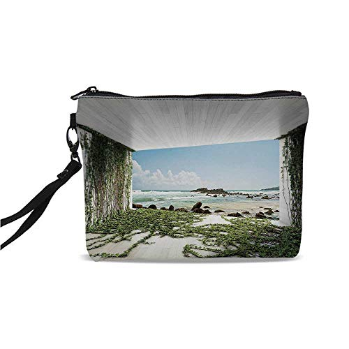 (White Decor Simple Cosmetic Bag,Wooden Palques Seem Tunnel with Ocean Sea Moss Coastal Scenery for Women,9