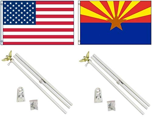 ALBATROS 3 ft x 5 ft USA American with State of Arizona Flag with 2 White with Pole Kit Sets for Home and Parades, Official Party, All Weather Indoors Outdoors ()