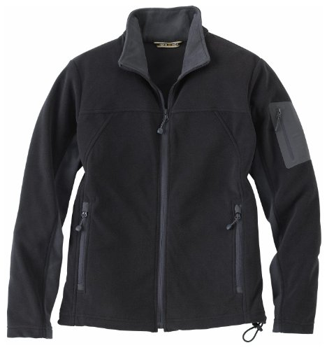 Ladies' Full Zip Microfleece Jacket, Color: Black w/Fossil Grey, Size: Medium Ash Ladies Full Zip