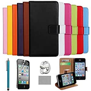 SHOUJIKE Luxury Ultral Slim Solid Color Genuine Leather Case with Screen Protector,Cable and Stylus for iPhone 4/4S , Nero