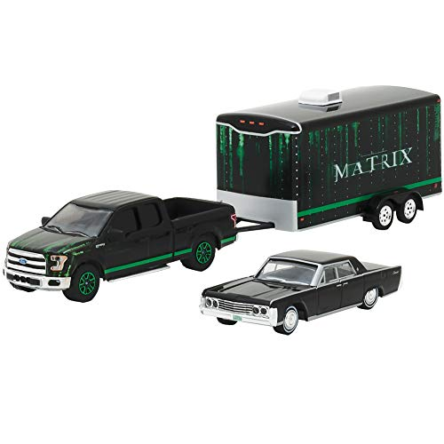2015 Ford F-150 Pickup Black, 1965 Lincoln Continental Black, Enclosed Car Trailer The Matrix Movie (1999) Hollywood Hitch and Tow Series 4 1/64 Diecast Model by GreenLight 31040B