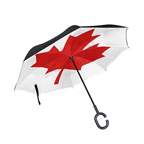 All agree Inverted Reverse Umbrella Canada Flag Windproof for Car Rain Outdoor