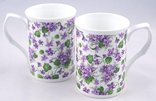 (Fine English Bone China Mugs - Wild Violet Chintz - Set of Two)