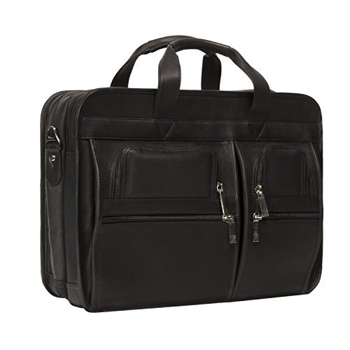 Muiska 17 Inch Double Compartment Leather Laptop Briefcase, Black, One Size
