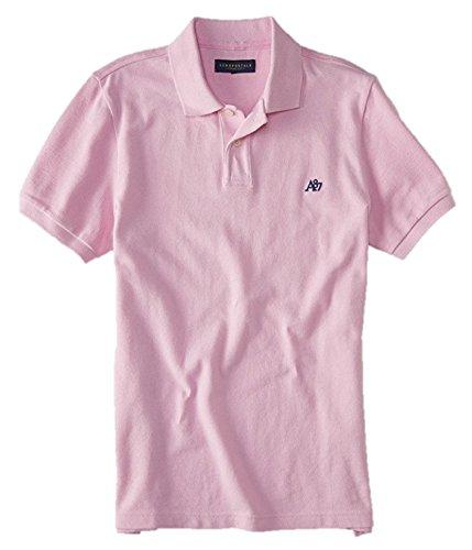 edd1a21e Aeropostale Men's Solid Uniform Logo Polo Shirt Large Pink w Navy 597