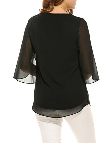 3 4 Cuello fluida Casual Elegante Acevog Blusa Blusa gasa mujer redondo Negro Manga de YCxYwqBX6